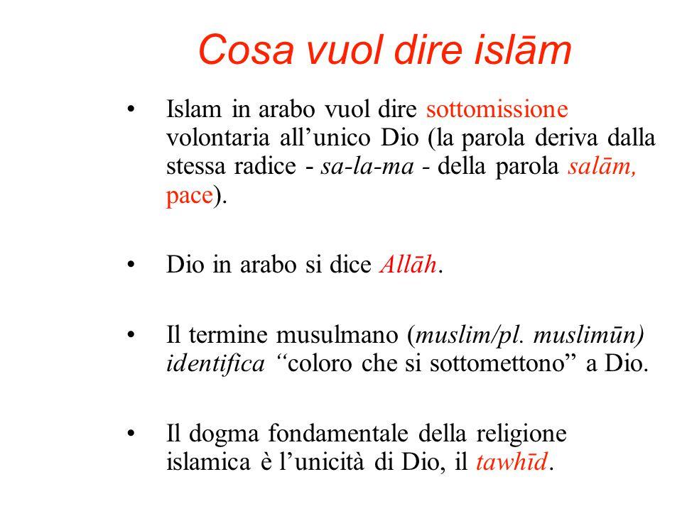 Cosa vuol dire islām Islam in arabo vuol dire sottomissione volontaria all'unico Dio (la parola deriva dalla stessa radice - sa-la-ma - della parola salām, pace).