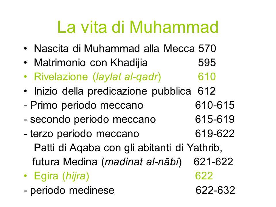 La vita di Muhammad Nascita di Muhammad alla Mecca 570 Matrimonio con Khadijia 595 Rivelazione (laylat al-qadr) 610 Inizio della predicazione pubblica 612 - Primo periodo meccano 610-615 - secondo periodo meccano 615-619 - terzo periodo meccano 619-622 Patti di Aqaba con gli abitanti di Yathrib, futura Medina (madinat al-nābi) 621-622 Egira (hijra) 622 - periodo medinese 622-632