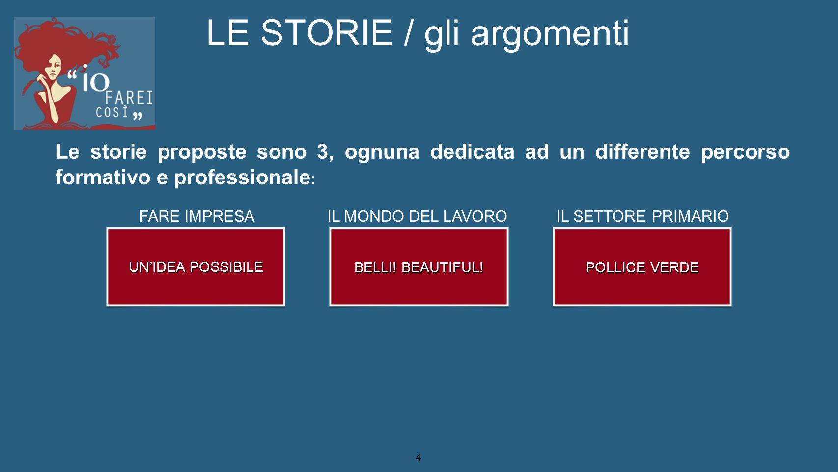 4 LE STORIE / gli argomenti UN'IDEA POSSIBILE BELLI! BEAUTIFUL! POLLICE VERDE Le storie proposte sono 3, ognuna dedicata ad un differente percorso for