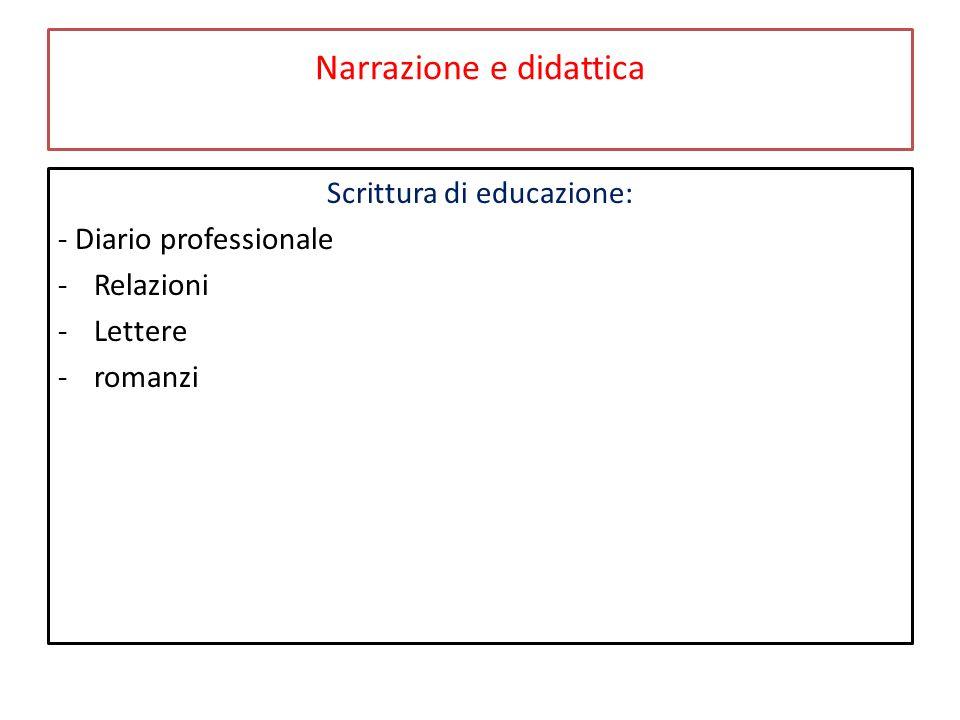 Narrazione e didattica Scrittura di educazione: - Diario professionale -Relazioni -Lettere -romanzi