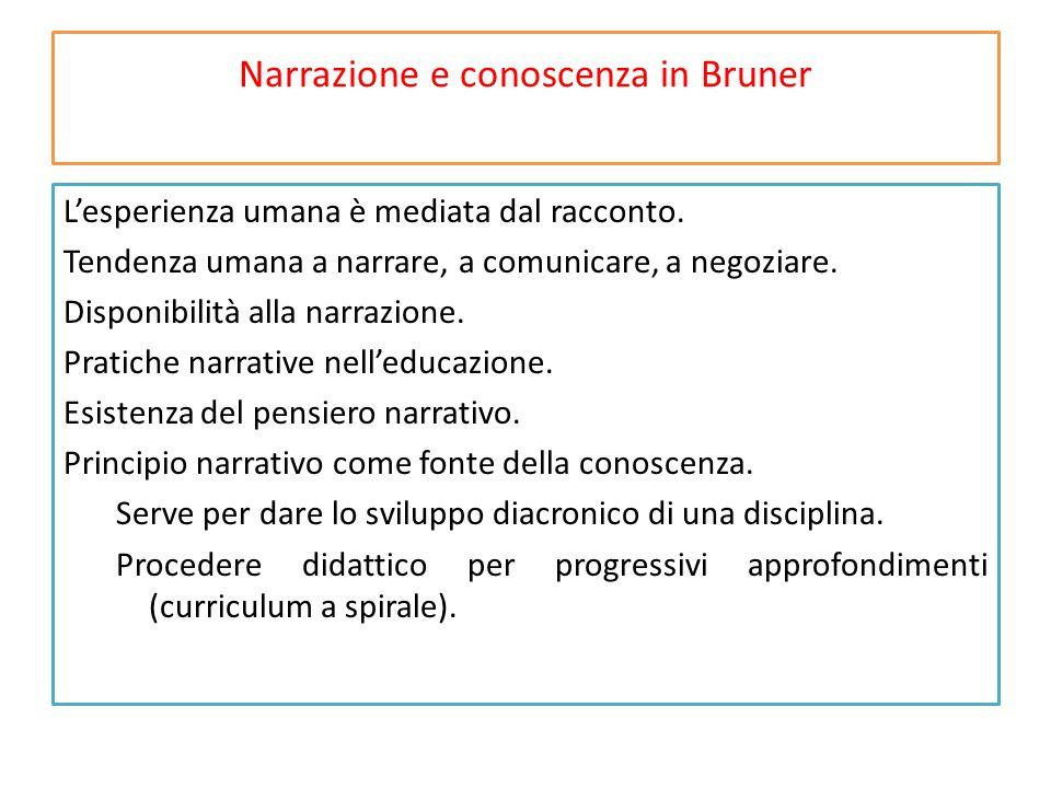 Narrazione e conoscenza in Bruner L'esperienza umana è mediata dal racconto.