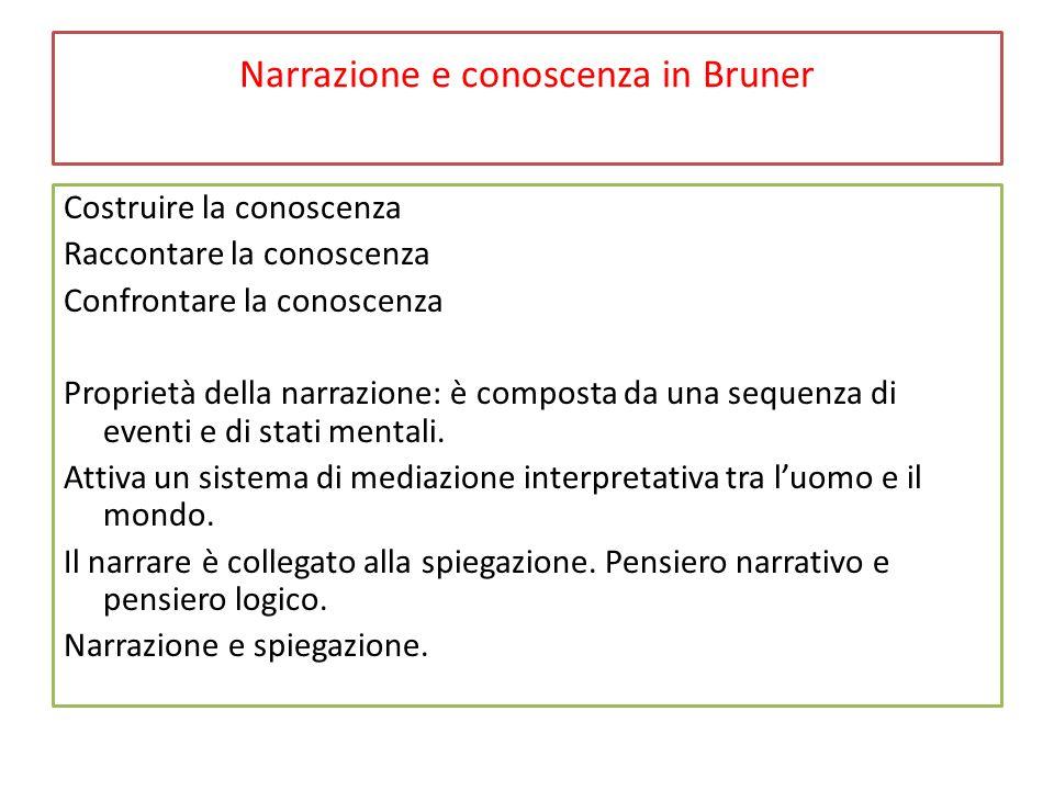 Narrazione e conoscenza in Bruner La narrazione fornisce una conoscenza più articolata sul piano umano e sociale.