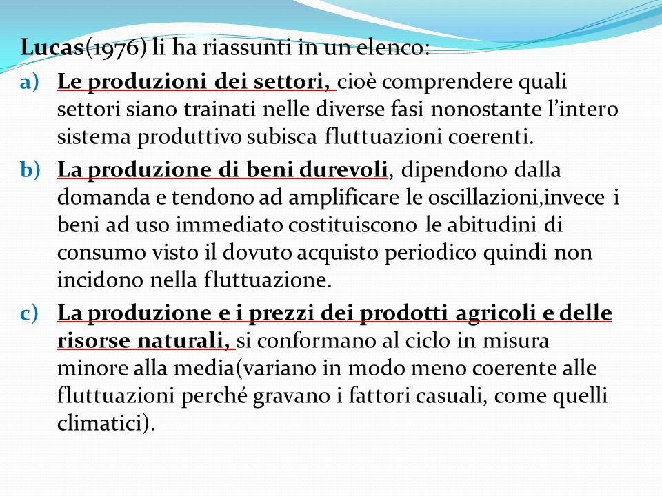 Lucas(1976) li ha riassunti in un elenco: a) Le produzioni dei settori, cioè comprendere quali settori siano trainati nelle diverse fasi nonostante l'