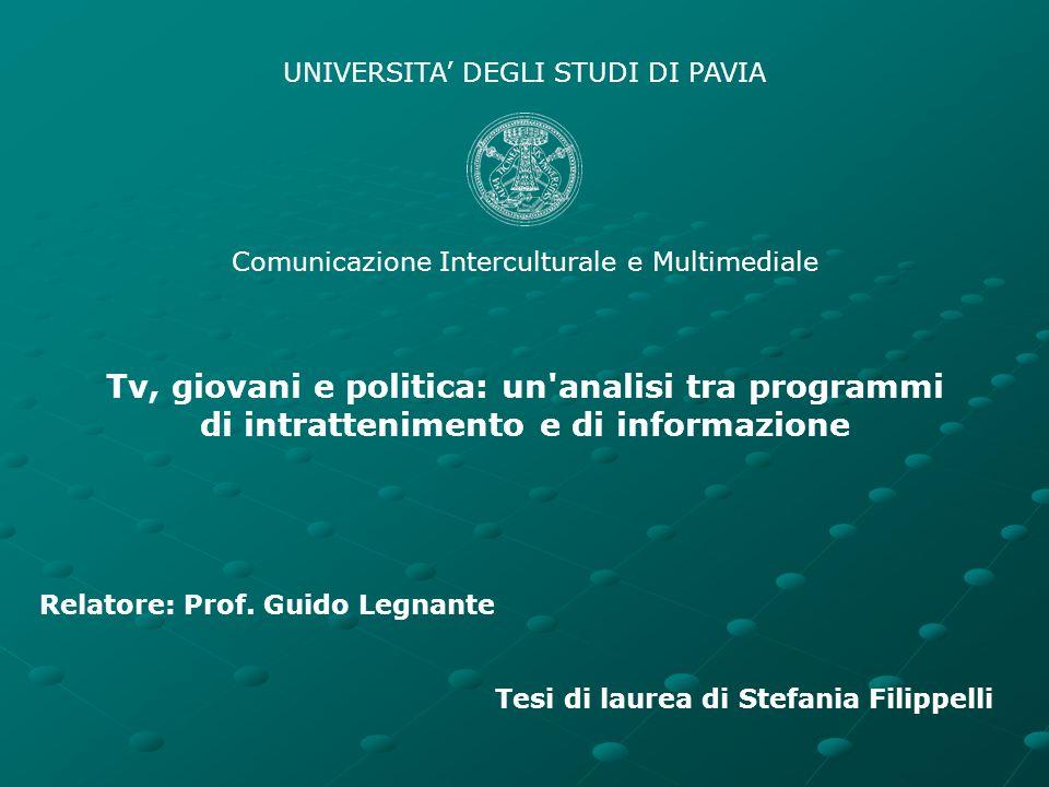 UNIVERSITA' DEGLI STUDI DI PAVIA Comunicazione Interculturale e Multimediale Tv, giovani e politica: un'analisi tra programmi di intrattenimento e di