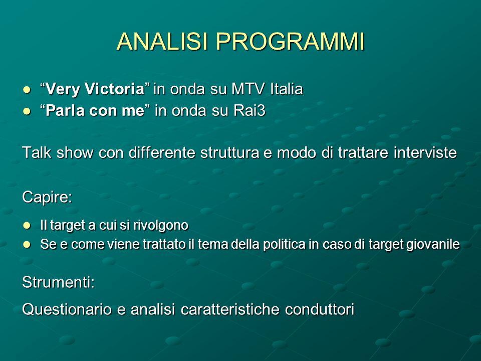 """ANALISI PROGRAMMI ●""""Very Victoria"""" in onda su MTV Italia ●""""Parla con me"""" in onda su Rai3 Talk show con differente struttura e modo di trattare intervi"""