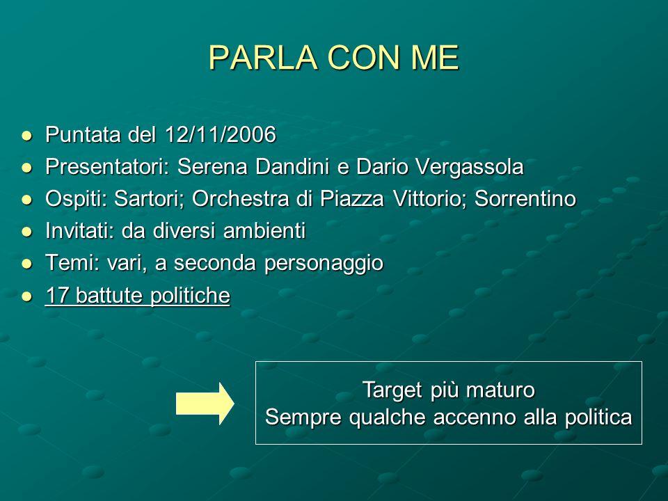 PARLA CON ME ●Puntata del 12/11/2006 ●Presentatori: Serena Dandini e Dario Vergassola ●Ospiti: Sartori; Orchestra di Piazza Vittorio; Sorrentino ●Invi