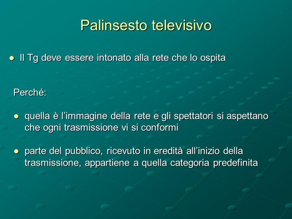 Palinsesto televisivo ●Il Tg deve essere intonato alla rete che lo ospita Perché: ● quella è l'immagine della rete e gli spettatori si aspettano che o