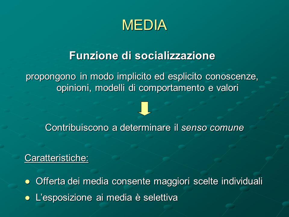 MEDIA Funzione di socializzazione propongono in modo implicito ed esplicito conoscenze, opinioni, modelli di comportamento e valori Caratteristiche: ●