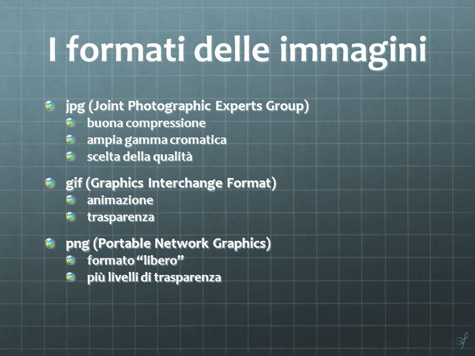 I formati delle immagini jpg (Joint Photographic Experts Group) buona compressione ampia gamma cromatica scelta della qualità gif (Graphics Interchange Format) animazionetrasparenza png (Portable Network Graphics) formato libero più livelli di trasparenza