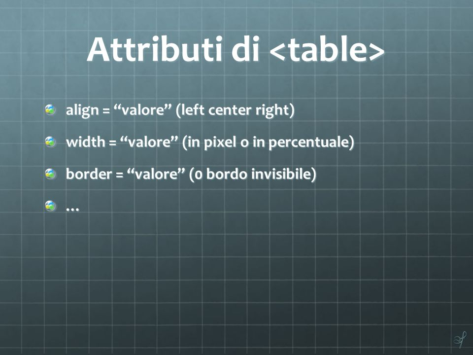 "Attributi di Attributi di align = ""valore"" (left center right) width = ""valore"" (in pixel o in percentuale) border = ""valore"" (0 bordo invisibile) …"