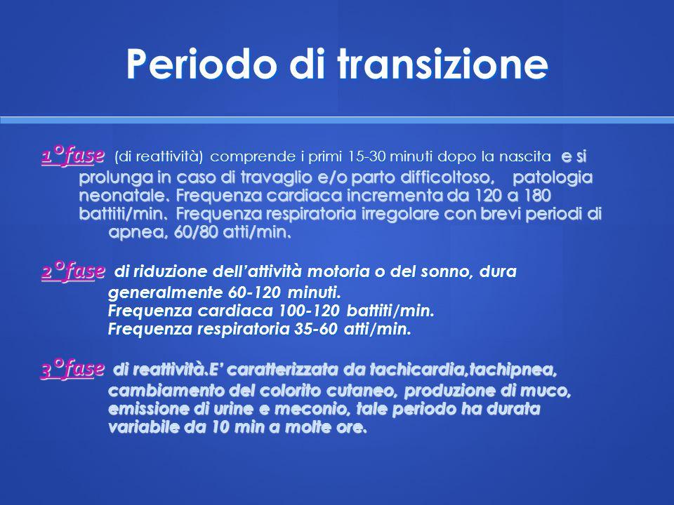 Periodo di transizione 1°fase (di reattività) comprende i primi 15-30 minuti dopo la nascita e si prolunga in caso di travaglio e/o parto difficoltoso