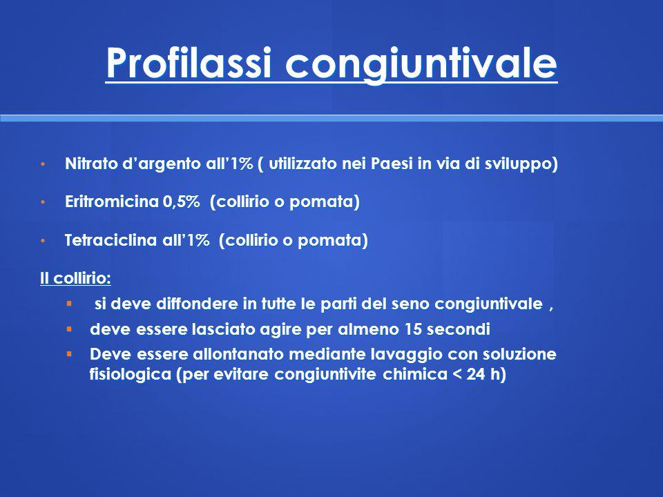 Profilassi congiuntivale Nitrato d'argento all'1% ( utilizzato nei Paesi in via di sviluppo) Nitrato d'argento all'1% ( utilizzato nei Paesi in via di