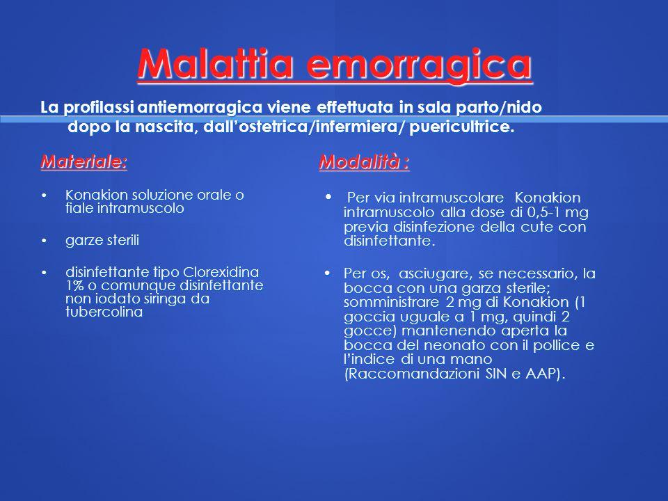 Malattia emorragica Materiale: Konakion soluzione orale o fiale intramuscolo Konakion soluzione orale o fiale intramuscolo garze sterili garze sterili