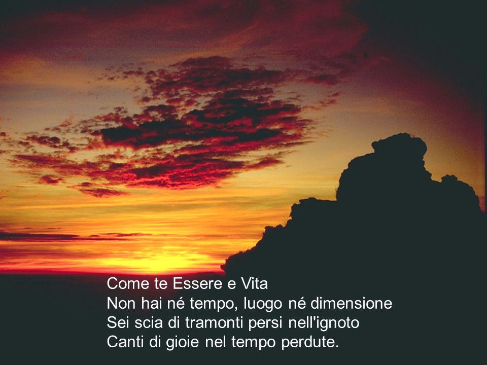 Come te Essere e Vita Non hai né tempo, luogo né dimensione Sei scia di tramonti persi nell'ignoto Canti di gioie nel tempo perdute.