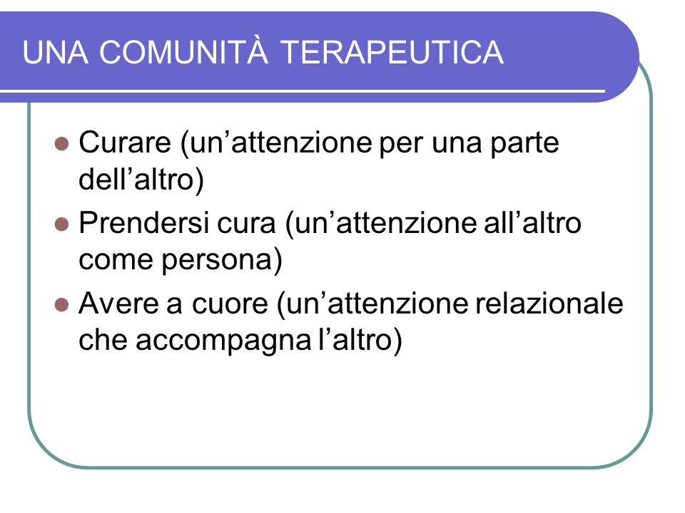 UNA COMUNITÀ TERAPEUTICA Curare (un'attenzione per una parte dell'altro) Prendersi cura (un'attenzione all'altro come persona) Avere a cuore (un'attenzione relazionale che accompagna l'altro)