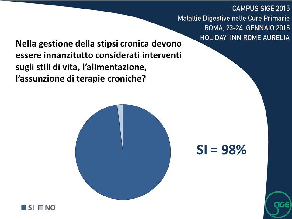SI = 98% Nella gestione della stipsi cronica devono essere innanzitutto considerati interventi sugli stili di vita, l'alimentazione, l'assunzione di t