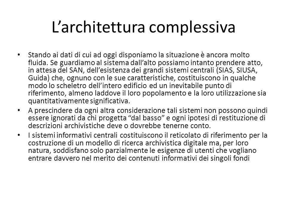 L'architettura complessiva Stando ai dati di cui ad oggi disponiamo la situazione è ancora molto fluida.