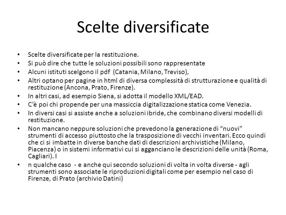 Scelte diversificate Scelte diversificate per la restituzione.