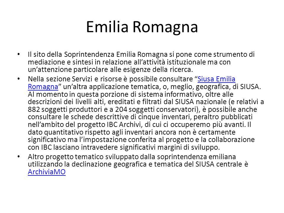 Emilia Romagna Il sito della Soprintendenza Emilia Romagna si pone come strumento di mediazione e sintesi in relazione all'attività istituzionale ma con un'attenzione particolare alle esigenze della ricerca.