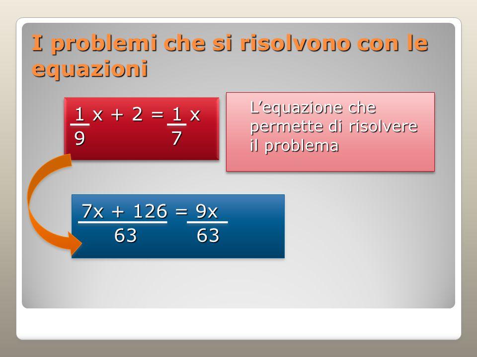I problemi che si risolvono con le equazioni L'equazione che permette di risolvere il problema 1 x + 2 = 1 x 9 7 1 x + 2 = 1 x 9 7 7x + 126 = 9x 63 63 63 63 7x + 126 = 9x 63 63 63 63