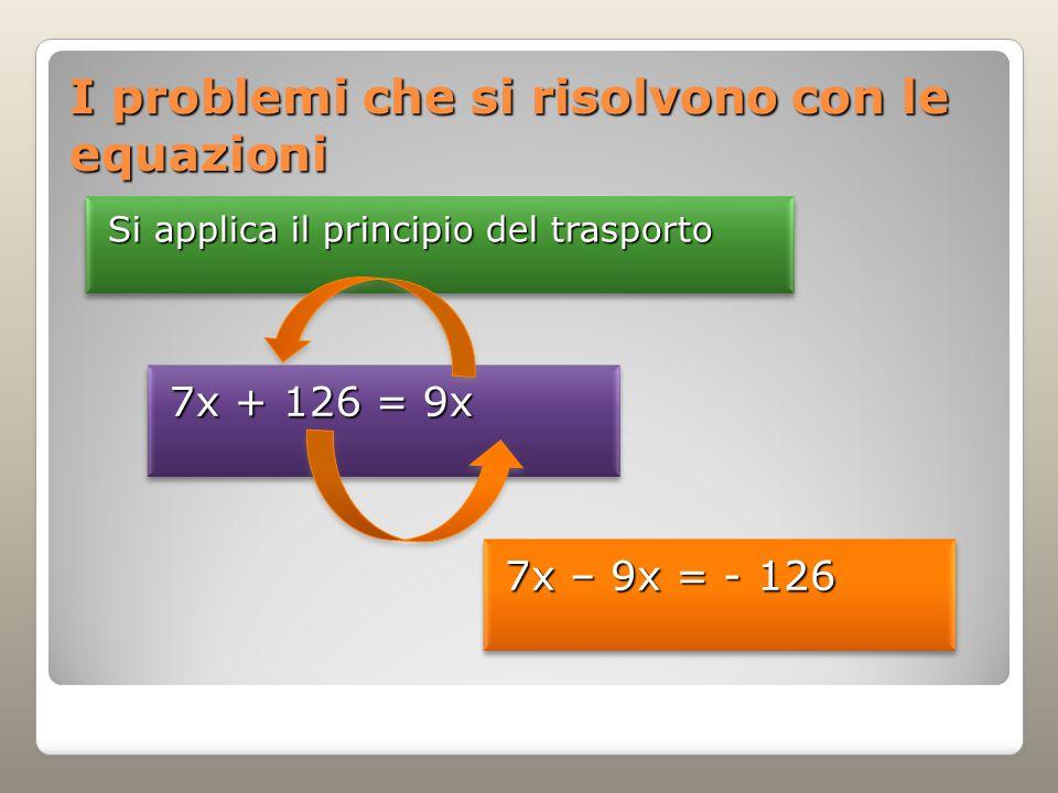 I problemi che si risolvono con le equazioni Si applica il principio del trasporto 7x + 126 = 9x 7x – 9x = - 126