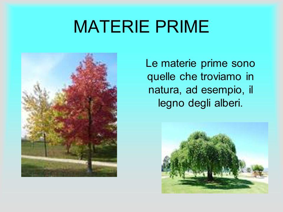 MATERIE PRIME » » Le materie prime sono quelle che troviamo in natura, ad esempio, il legno degli alberi.