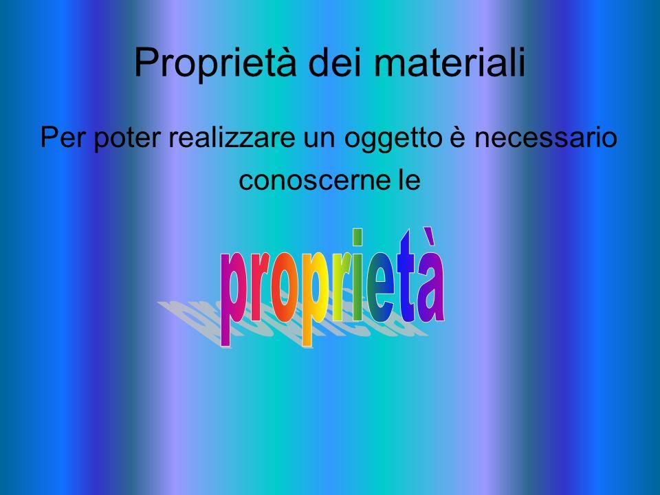 Proprietà dei materiali Per poter realizzare un oggetto è necessario conoscerne le