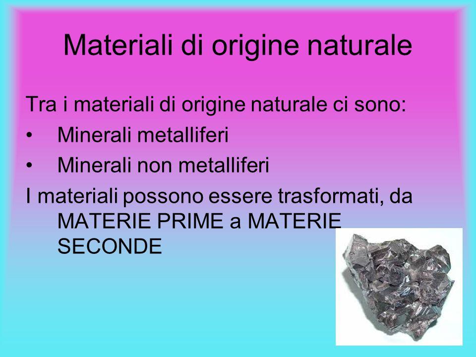 Materiali di origine naturale Tra i materiali di origine naturale ci sono: Minerali metalliferi Minerali non metalliferi I materiali possono essere tr