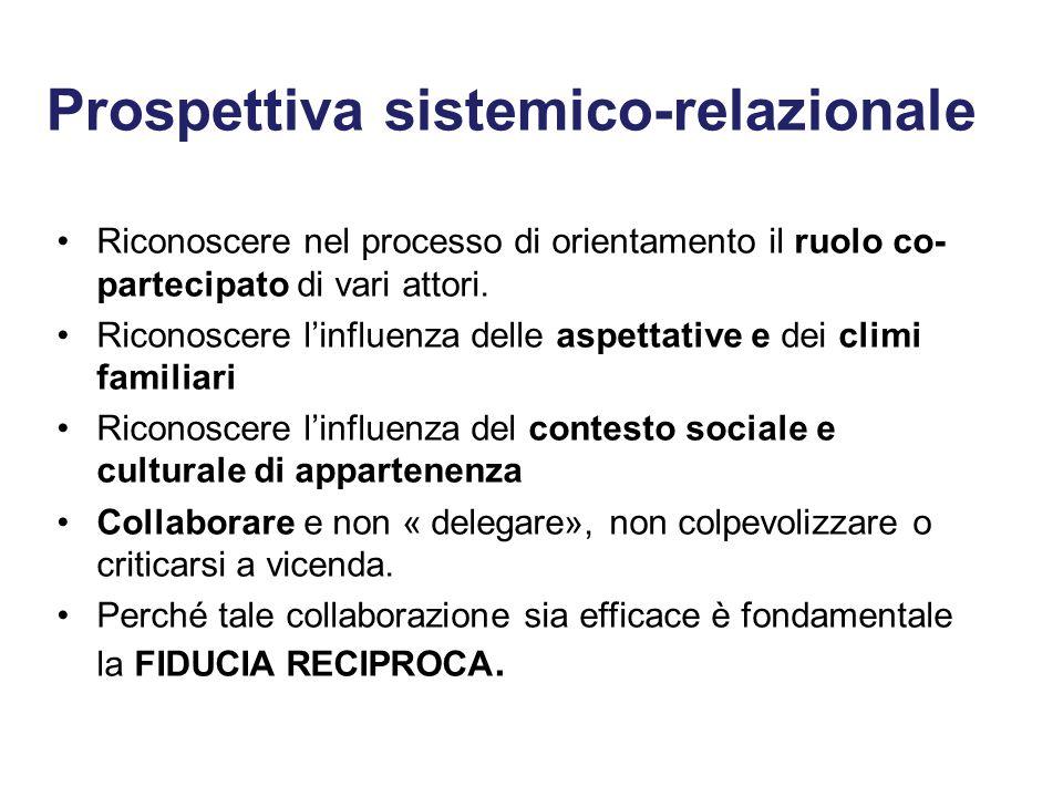 Prospettiva sistemico-relazionale Riconoscere nel processo di orientamento il ruolo co- partecipato di vari attori.