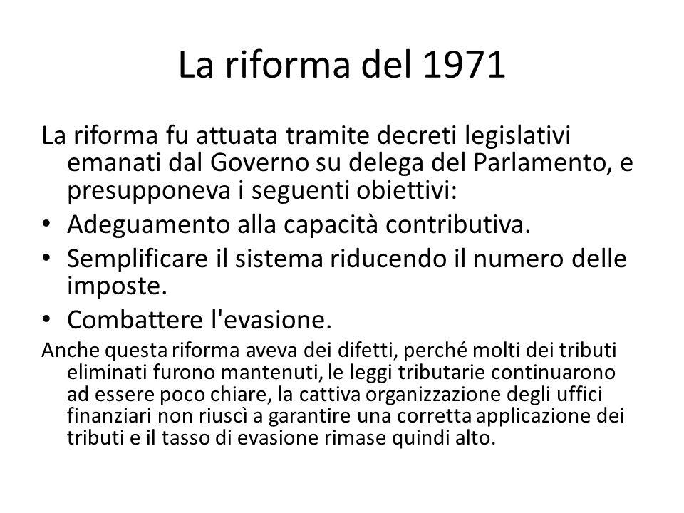 La riforma del 1971 La riforma fu attuata tramite decreti legislativi emanati dal Governo su delega del Parlamento, e presupponeva i seguenti obiettiv