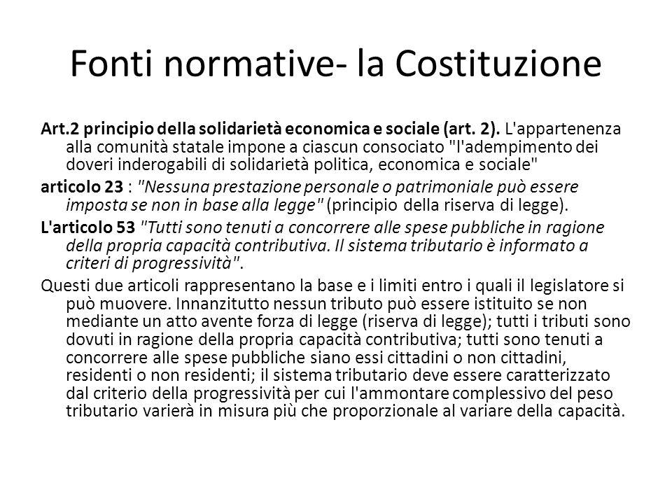 Fonti normative- la Costituzione Art.2 principio della solidarietà economica e sociale (art. 2). L'appartenenza alla comunità statale impone a ciascun
