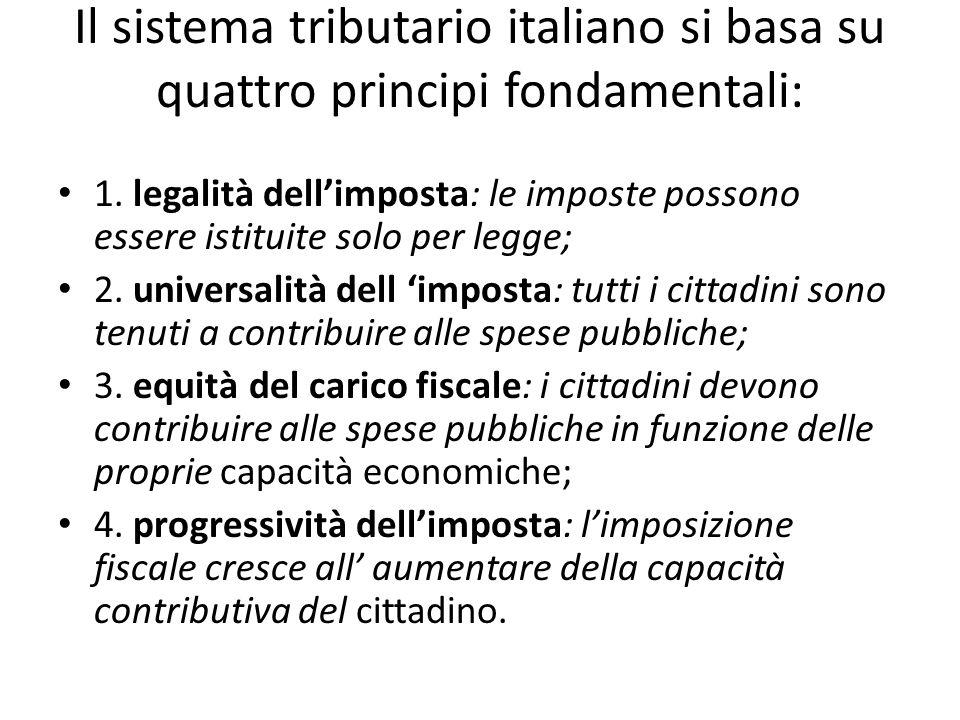 Il sistema tributario italiano si basa su quattro principi fondamentali: 1. legalità dell'imposta: le imposte possono essere istituite solo per legge;