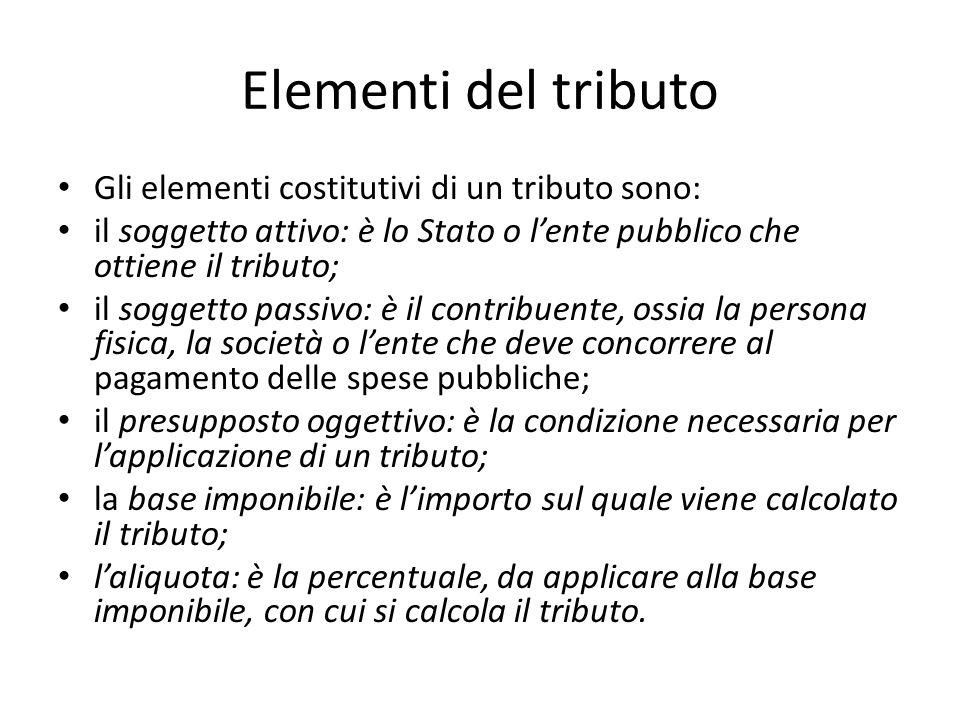 Elementi del tributo Gli elementi costitutivi di un tributo sono: il soggetto attivo: è lo Stato o l'ente pubblico che ottiene il tributo; il soggetto