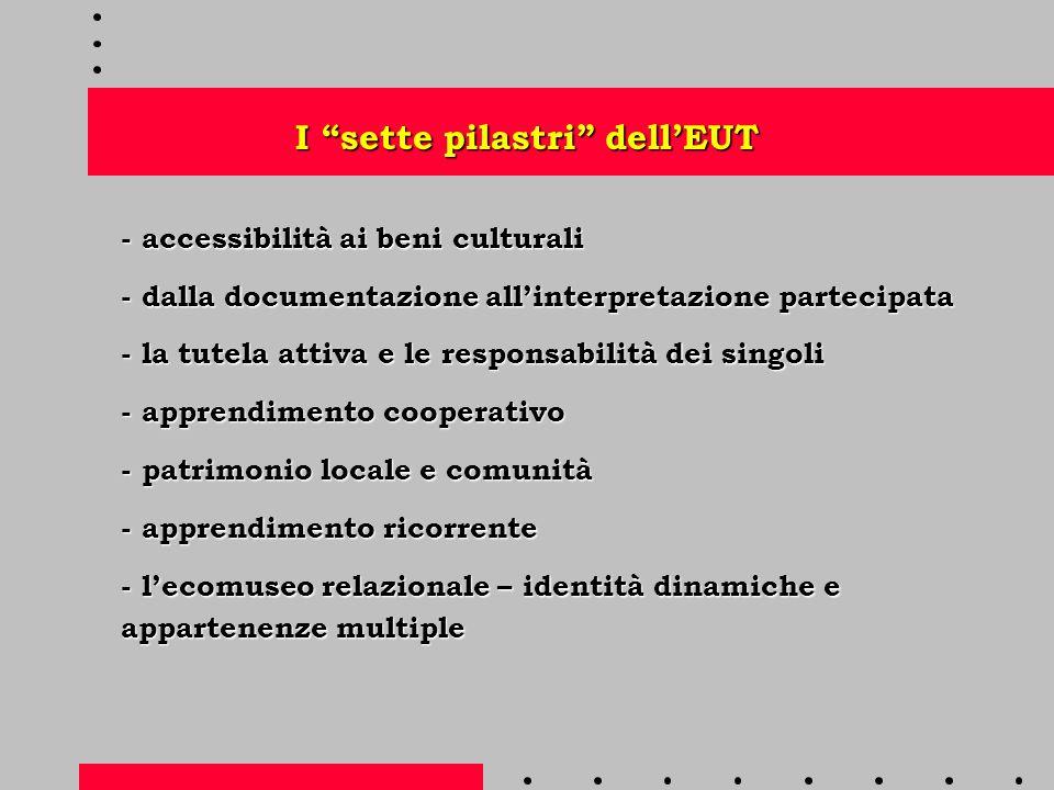 I sette pilastri dell'EUT - accessibilità ai beni culturali - dalla documentazione all'interpretazione partecipata - la tutela attiva e le responsabilità dei singoli - apprendimento cooperativo - patrimonio locale e comunità - apprendimento ricorrente - l'ecomuseo relazionale – identità dinamiche e appartenenze multiple