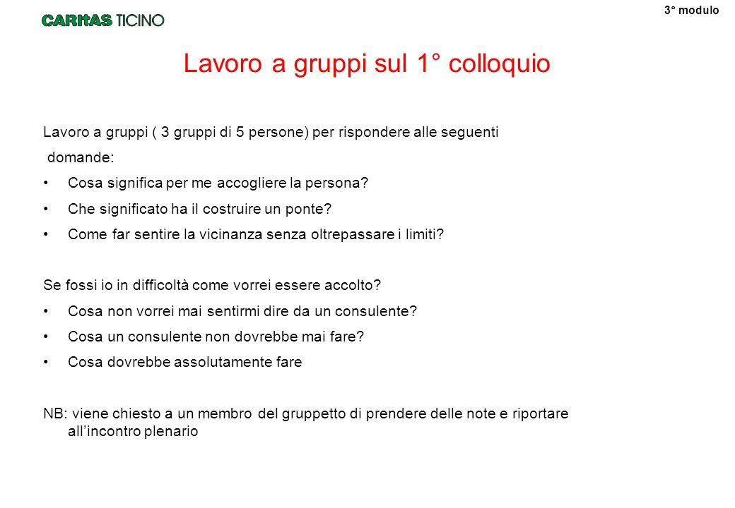 Lavoro a gruppi sul 1° colloquio Lavoro a gruppi ( 3 gruppi di 5 persone) per rispondere alle seguenti domande: Cosa significa per me accogliere la persona.