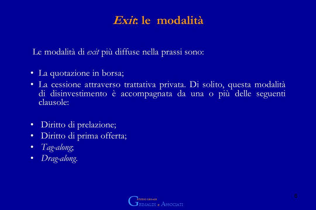 6 Exit: le modalità La quotazione in borsa; La cessione attraverso trattativa privata.