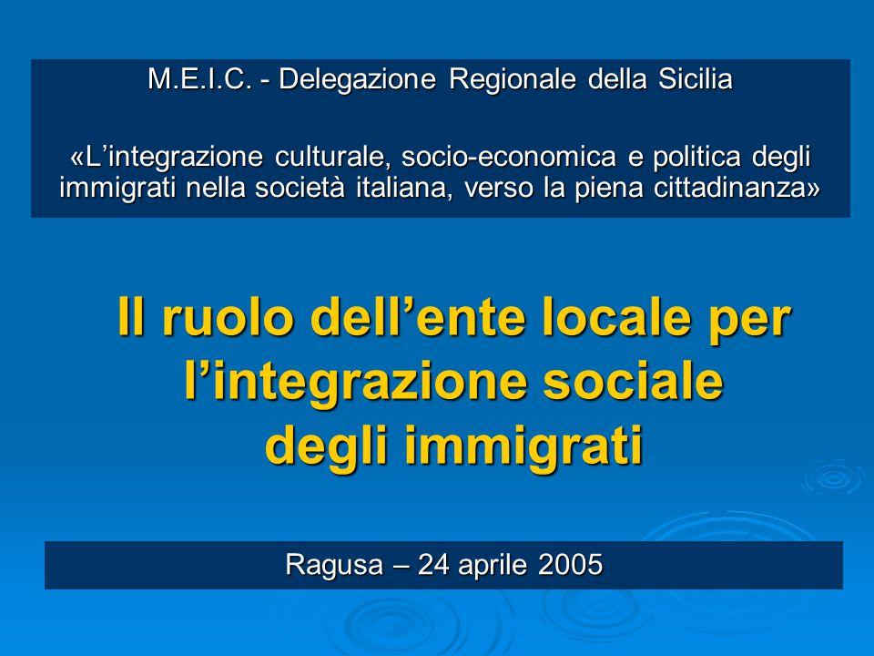 Il ruolo dell'ente locale per l'integrazione sociale degli immigrati M.E.I.C. - Delegazione Regionale della Sicilia «L'integrazione culturale, socio-e