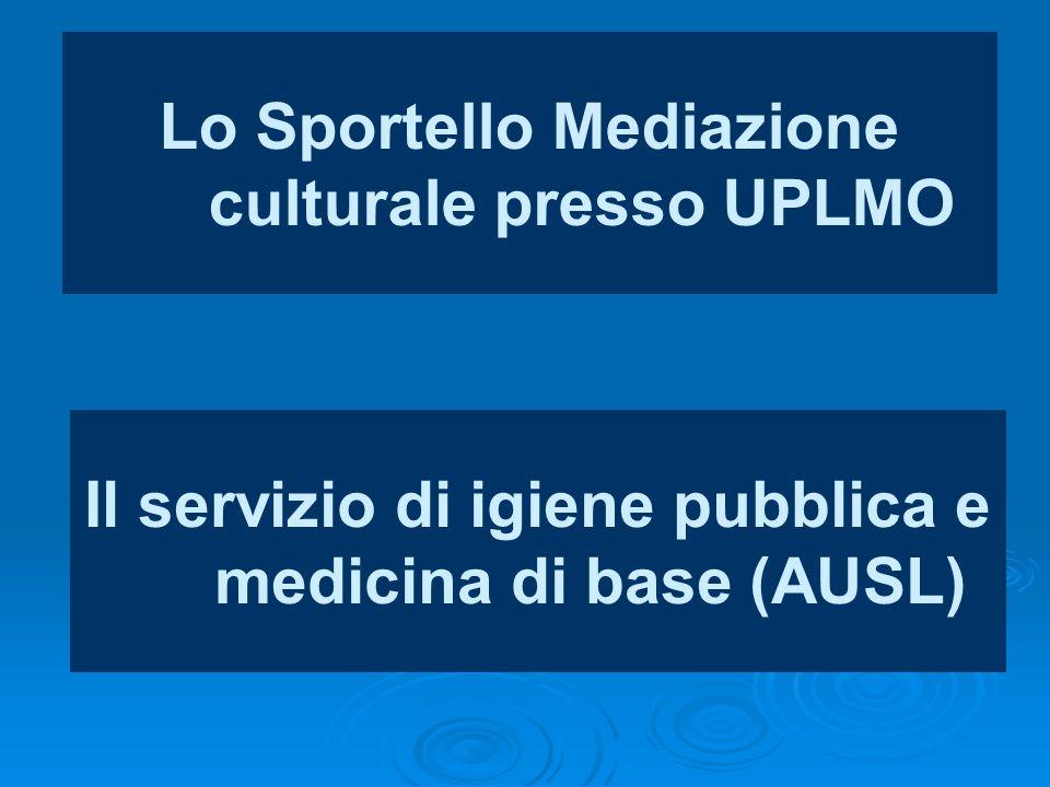 Lo Sportello Mediazione culturale presso UPLMO Il servizio di igiene pubblica e medicina di base (AUSL)