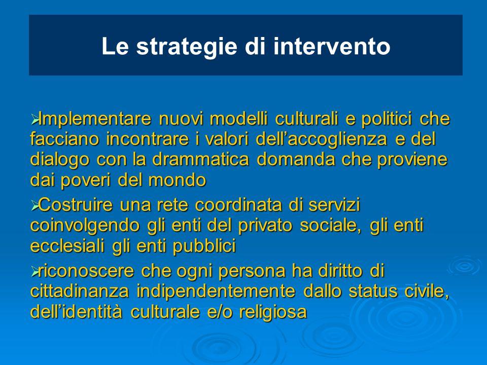 Le strategie di intervento  Implementare nuovi modelli culturali e politici che facciano incontrare i valori dell'accoglienza e del dialogo con la dr