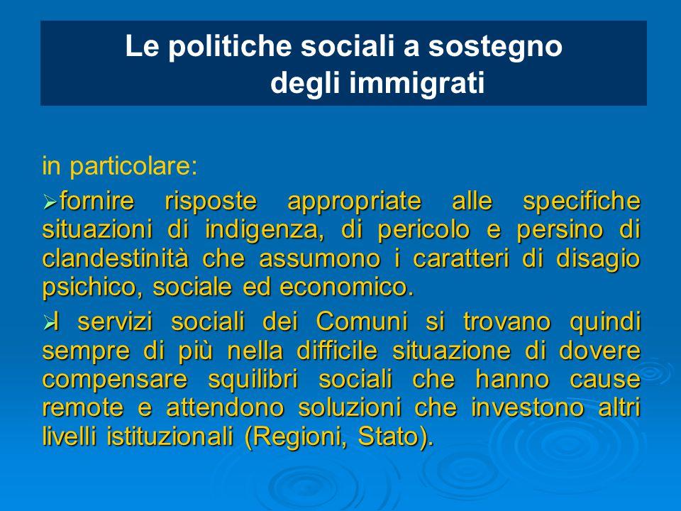 Le politiche sociali a sostegno degli immigrati in particolare:  fornire risposte appropriate alle specifiche situazioni di indigenza, di pericolo e