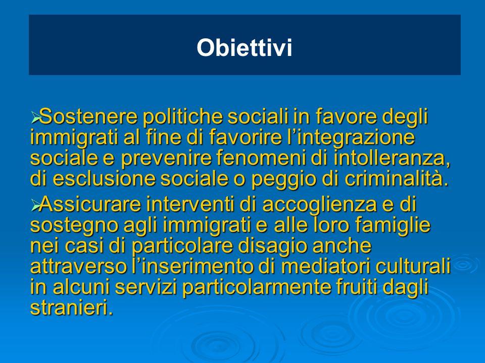 Obiettivi  Sostenere politiche sociali in favore degli immigrati al fine di favorire l'integrazione sociale e prevenire fenomeni di intolleranza, di