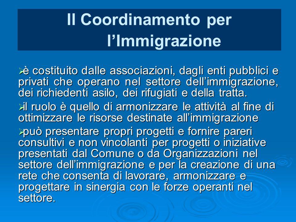 Il Coordinamento per l'Immigrazione  è costituito dalle associazioni, dagli enti pubblici e privati che operano nel settore dell'immigrazione, dei ri