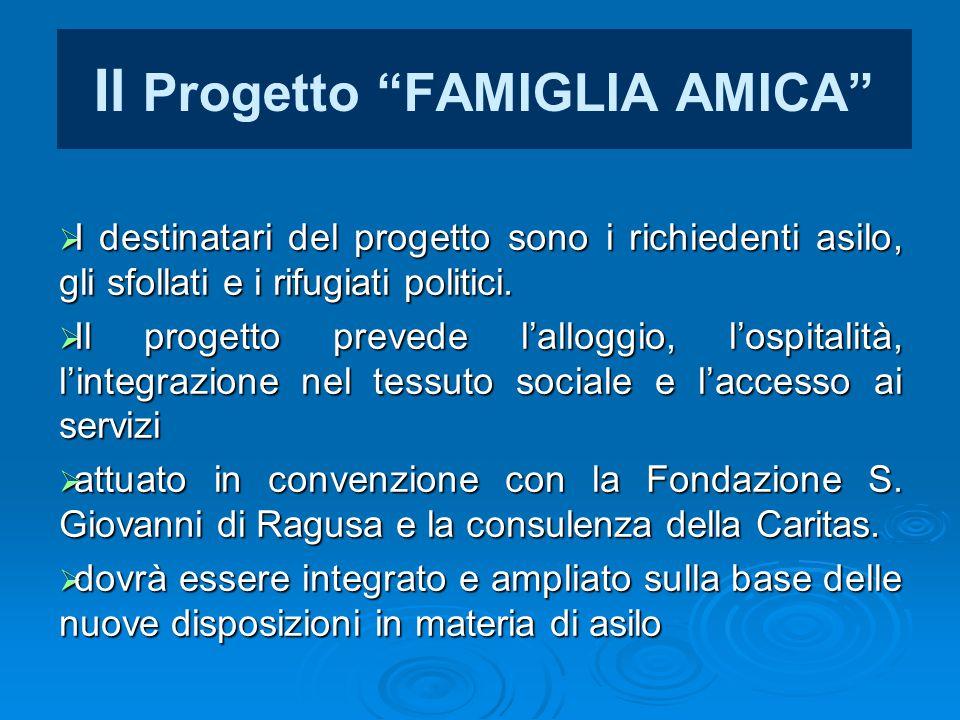 """Il Progetto """"FAMIGLIA AMICA""""  I destinatari del progetto sono i richiedenti asilo, gli sfollati e i rifugiati politici.  Il progetto prevede l'allog"""