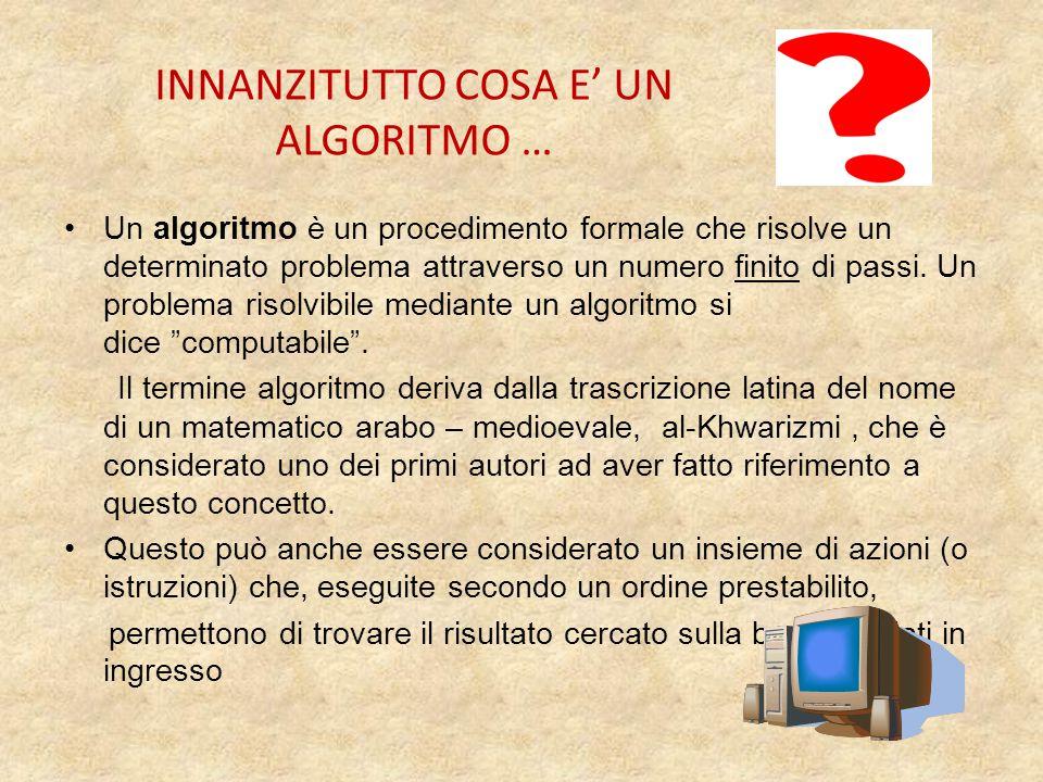 INNANZITUTTO COSA E' UN ALGORITMO … Un algoritmo è un procedimento formale che risolve un determinato problema attraverso un numero finito di passi.