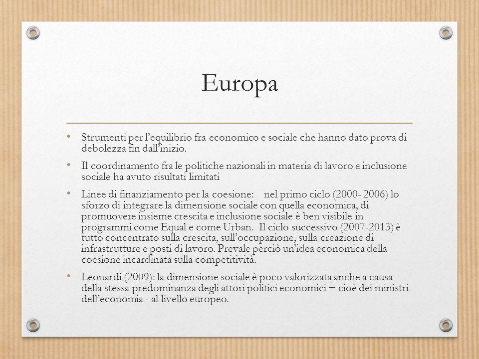 Europa Strumenti per l'equilibrio fra economico e sociale che hanno dato prova di debolezza fin dall'inizio.