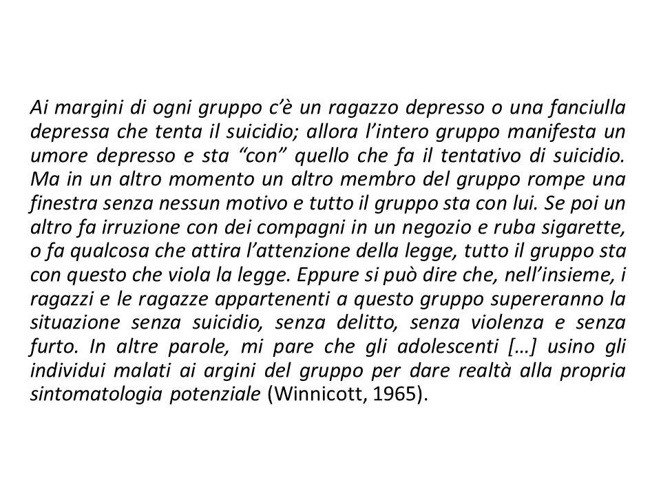 Ai margini di ogni gruppo c'è un ragazzo depresso o una fanciulla depressa che tenta il suicidio; allora l'intero gruppo manifesta un umore depresso e