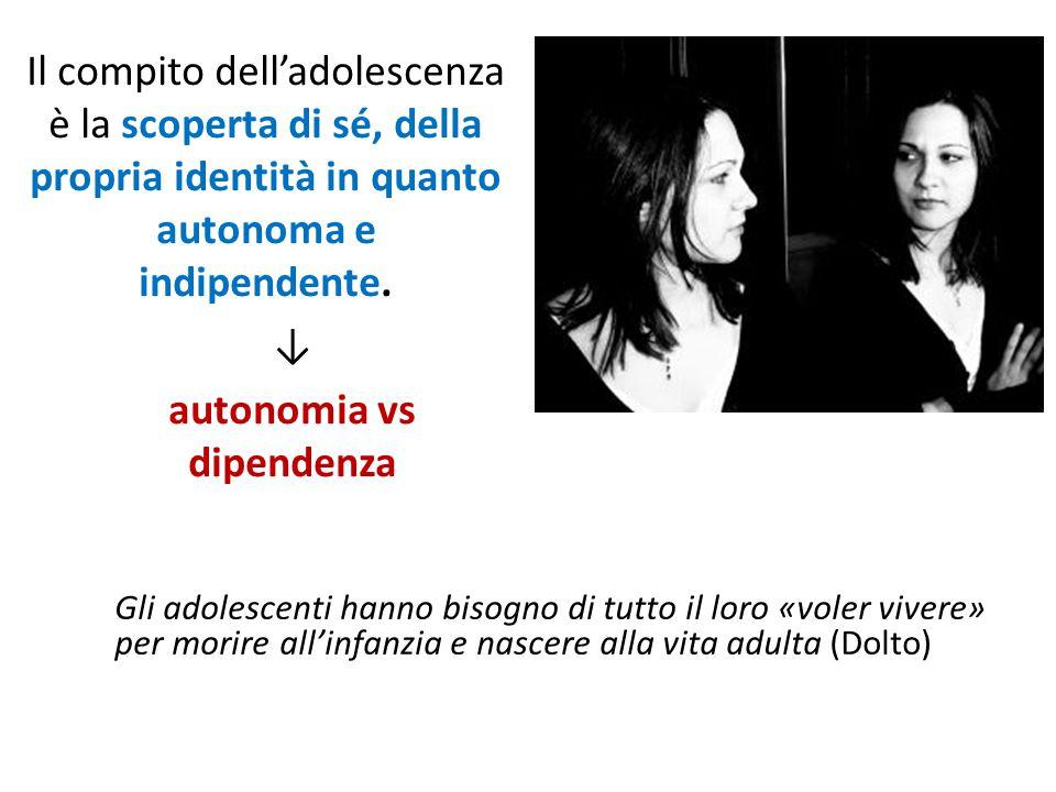 Il compito dell'adolescenza è la scoperta di sé, della propria identità in quanto autonoma e indipendente. ↓ autonomia vs dipendenza Gli adolescenti h