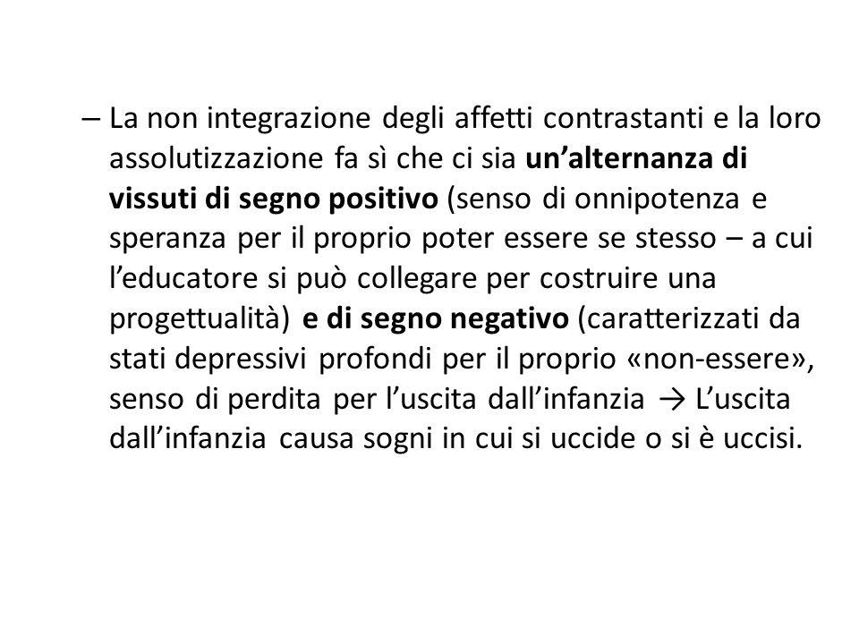 – La non integrazione degli affetti contrastanti e la loro assolutizzazione fa sì che ci sia un'alternanza di vissuti di segno positivo (senso di onni