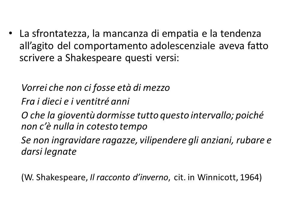 La sfrontatezza, la mancanza di empatia e la tendenza all'agito del comportamento adolescenziale aveva fatto scrivere a Shakespeare questi versi: Vorr