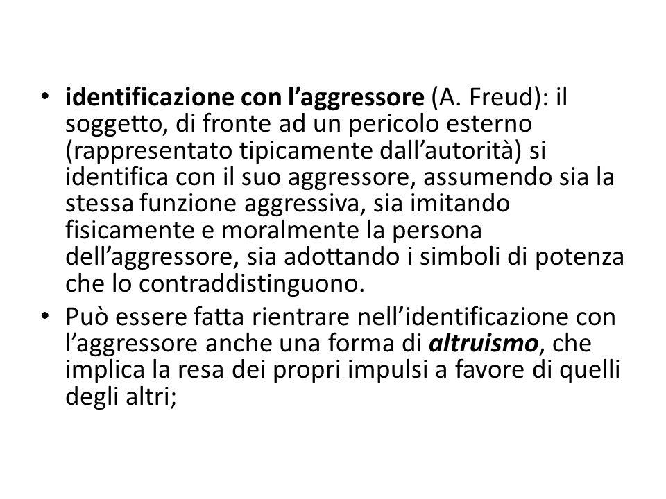 identificazione con l'aggressore (A. Freud): il soggetto, di fronte ad un pericolo esterno (rappresentato tipicamente dall'autorità) si identifica con